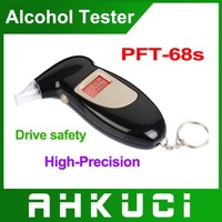 free shipping+10pcs/lot high precision ABS digital alcohol tester/car breathalyzer with red colock backlight pft/68s