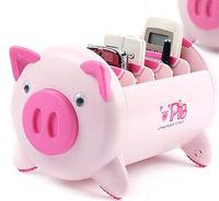 Free shipping, fashion piggy Remote Control Holder Multi debris creative cartoon storage sorting box M035