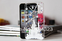 10 PCS free shipping Protective Cell Phone Mobile Shell Case Cover with Beautiful Romantic Pattern Crystal for iphone 4 4s