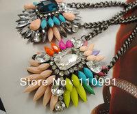 2013 New Arrival Unique Design Rhinestone Crystal Multicolor Neon Choker Bib Pendent Statement  Necklaces sets for women
