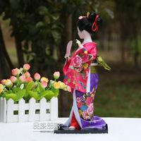 Free shipping Hand-made crafts 32cm Beautiful Japanese Geisha Japanese silk people dolls Home Decration Arts