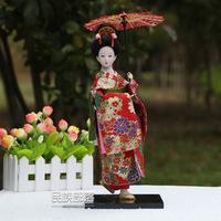 Free shipping 32cm  Beautiful Japan Geisha Japanese beauty silk dolls Home Decration Hand-made craifts Creative gifts