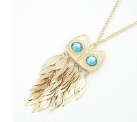 Free shipping Trendy 2013 latest fashion owl necklace