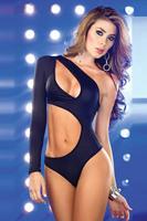 new sexy womens asymmetrical  one-piece swimwear bodysuit beachwear pink black one sleeve cut out side 8077