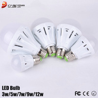 Gobal free shipping ampoule led globe lights for home 3W 5W 7W 9W 12W Dimmable light bulb lumen E27 lamp Plastic 10PCS/LOT