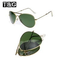 60's Trendy Sunglasses Folding Pilot Glasses 3025 Size G15 Glass Material Lens Men/Women  Sunglasses Free Shipping