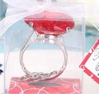 10pcs/lot Wedding decoration of key chain crystal diamond rings Marriage Favours novelty key