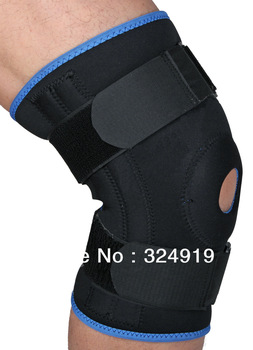 Free shipping Neoprene Knee Stabilizer Sport Dual Action Leg Sleeve Flexible Metal Springs Hinged Protector Black Medium+2 pcs
