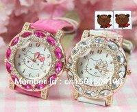 Free & Drop Shipping 1PC wholesale retail Hello Kitty Lady Students Girls Women popular Gift Quartz  Full drill Wrist Watch+box