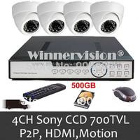 Built-in 500GB HDD Sony Effio CCD 700TVL CCTV Package Kit HDMI 4CH DVR SET,4 Internal Dome IR Camera Security