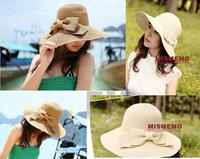 Free Shipping Ladies Girls Women Fashion Hot Sale Straw Hat Cap Big Brim Beautiful Bow Good Quality Foldable Sunbonnet Summer