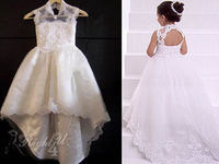 High Quality Ivory Applique Newest Bridal Flower Girl Dress 2014