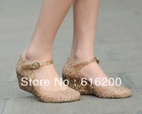 Jelly Soft  Hollow Nest  Crystal Sandals Sequined Flowers Shoes Water Proof High-heeled Shoes  Rain Boots