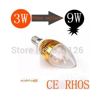 3W 4W 5W 9W E14 35mil Epistar LED Candle light / Dimmable E14 CE&ROHS Equivalent to 9W incandescent lamp Free Shipping(China (Mainland))