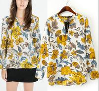 2015 Women Shirts Vintage Yellow Floral Printed V Neck Long Sleeve Casual Blouses Blusas Femininas OL  Ladies' Retro Brand Tops