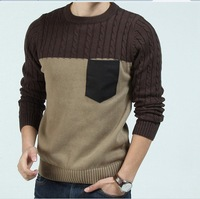 FreeShipping New 2013 Leisure Men's Sweater Splicing Knit Color Block Casual Sweater Round Neck Full Pullovers