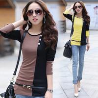 2014 women's slim  T-shirt long-sleeve  basic shirt clothes plus free shipping XM-1339
