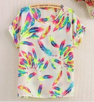 Free Shipping New fashion Women Chiffon blouse Lady Plus Loose Short Sleeve Top Blusas Hot Sale