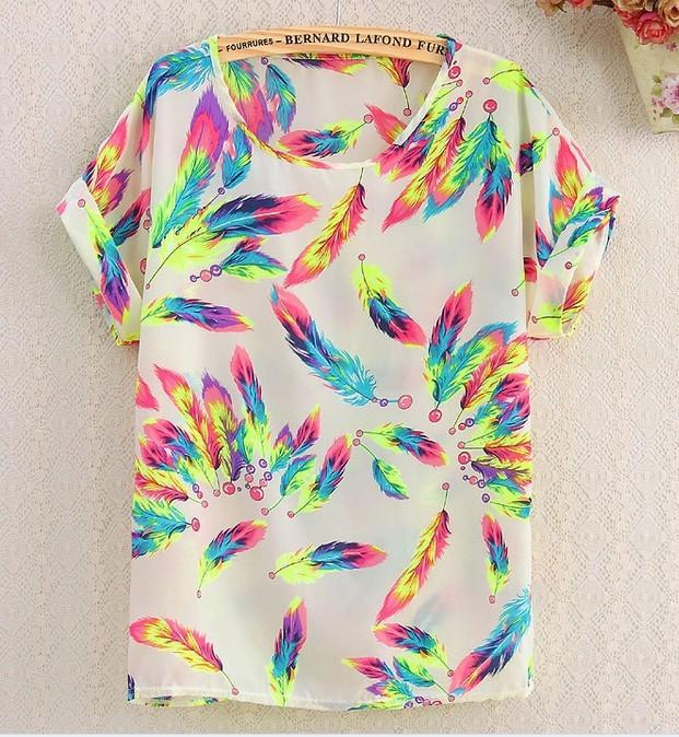 Free Shipping New fashion Women Chiffon blouse Lady Plus Loose Short Sleeve Top Blusas Hot Sale(China (Mainland))