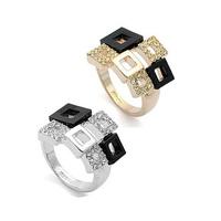 Italina Rigant Fashion Silver Ring Multi Square Luxury Rhinestone Eruope Style Free Shipping