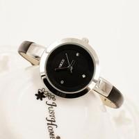 Women Dress Watches Leather Strap Alloy Case Stainless Steel Dial Quartz Analog Rhinestone Fashion Wristwatches Relogio Feminino
