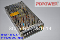 150W 12V AC/DC switching power supply with single output, CE/RoHS/FCC/IEC certified, 2-year Warranty