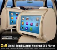 "Top Quality 9"" DVD Car Headrest Monitor Digital Touch Screen Game USB SD FM IR Russian Spanish Portuguese Menu"