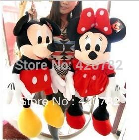 New arrival Kawaii Mickey & Minnie stuffed plush toys valentine gift 28cm wholesaler wedding gift 1 pair 2 pieces(China (Mainland))