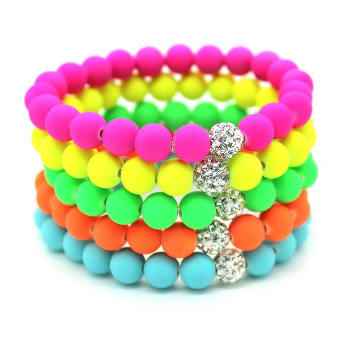 $0.59/Pcs!2014 New Hot! Women Bracelets Bangles 8mm Fluorescent Neon Infinity Cheap Bracelet!Shamballa Stretch Charm Jewelry(China (Mainland))