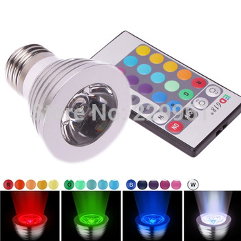 E27 3W RGB LED Light Spotlight Bulb Lamp Lamp 16 Color Changing AC85V~265V with IR Remote Control free shipping