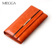 Megga women's fashion wallet oil leather three fold wallet large capacity female long design purse card holder