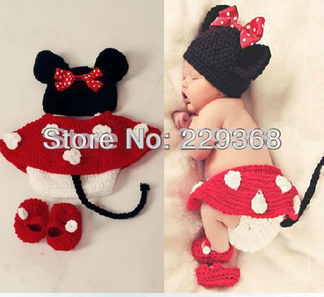 "Free Shipping Mickey Mouse Baby Knit Crochet Knitting Flower Cap Cartoon Photography Props Newborn Hats Short Handmade ""Qidian""(China (Mainland))"