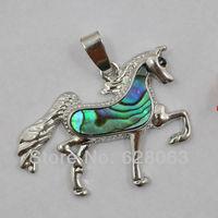 New Zealand Abalone Shell Bead Pendant Horse Jewelry Free shipping S1023