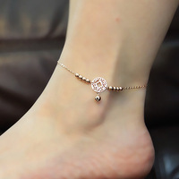 Top Quality 18KGP Rose Gold Plated Coin Bell Anklet Fashion Women's Titanium Steel Jewelry Stylish Gift Free Shipping (GA009)