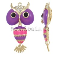 Free shipping!!!Zinc Alloy Animal Pendants,2013 Jewelry, Owl, gold color plated, with rhinestone, nickel, lead & cadmium free