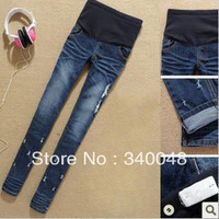 2013 high quality maternity clothing spring fashion maternity denim pants belly pants free shipping promotion price