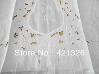 Precious 100% cotton handmade embroidery  venice flower pattern  white 60*180cm Curtains with tassel  for living room home decor