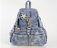 [TC Jeans]Summer fashion female cargo double-shoulder the trend of casual denim bag