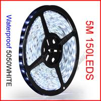 ( 60 reel/lot ) 5M/Reel 5050 12V 150 LEDs 30 LEDs/M White Color SMD Waterproof Flexible LED Strip Lights Wholesale