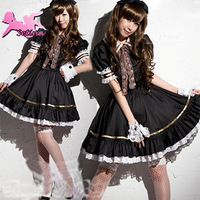 Free shipping period costumes black princess dress lolita girl maid costume sexy uniform FMS031
