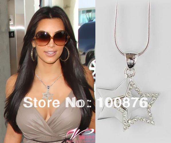 Trendy Jewlery 2014,double star pendant necklace,Necklace women,Lucky Necklace, Rhinestone Charm,18k Gold pendant jewelry-NL009(China (Mainland))