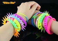 Min.Order $10,HQ Fashion Man Woman Neon Cool Mix Design Silicone Soft Zipper Rivet Pyramid Chain Link Bracelet Bangle A99