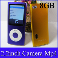5th mp4 player 2.2inch build in 8GB memory with camera FM 5generation mp4 player + earphone + usb cable + crystal box 100pcs/lot