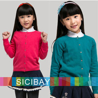 2014 Autumn New Girls Sweaters Kids Spring Tops Long Sleeve Buttons Design O-neck Children Cardigans,Free Shipping K0302