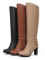 Free shipping over-the-knee high-heeled high boots side zipper buckle boots plus size 40-43.
