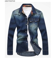2014 hot style Charm jeans shirts long sleeve men's shirt ,Denim Wear white men's jacket Cowboy wear