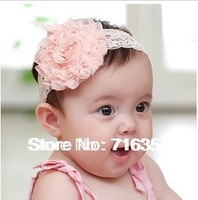 30pcs/lot (3 Colors pick ) Lace Flower Newborn Baby Infant Toddler Kid Girl Headband Christening Elastic FD006