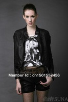 Free shipping! 2013 leather female han edition cultivate one's morality type brief paragraph coat collar