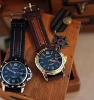 2014 New Fashion Men Sports Watch Clock Quartz Hours Dial Date Black Leather Men Wrist Watches Military Watch+Wholesale!