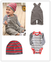 2013 new arrived baby suit/3-piece set: striped romper+ suspender romper+cap/Good quality clothes